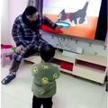 Dad amusing his kid
